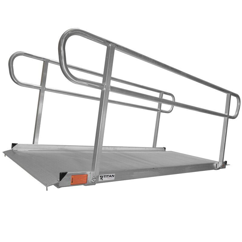 8' Aluminum Wheelchair Entry Ramp & Handrails