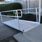 "10' Aluminum Wheelchair Entry Ramp With Handrails | 48"" Wide"