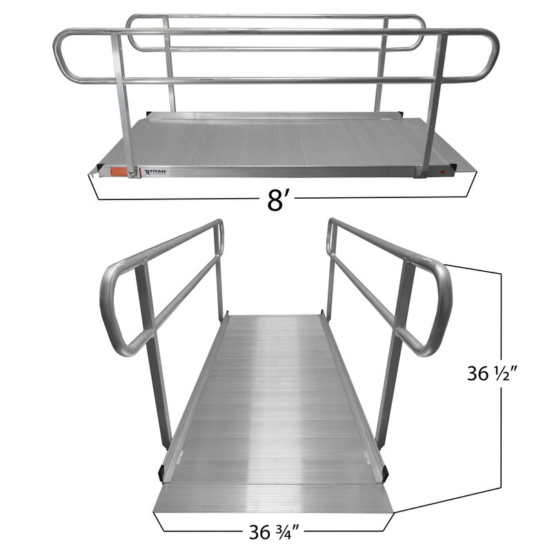 8' Aluminum Wheelchair Entry Ramp & Handrails