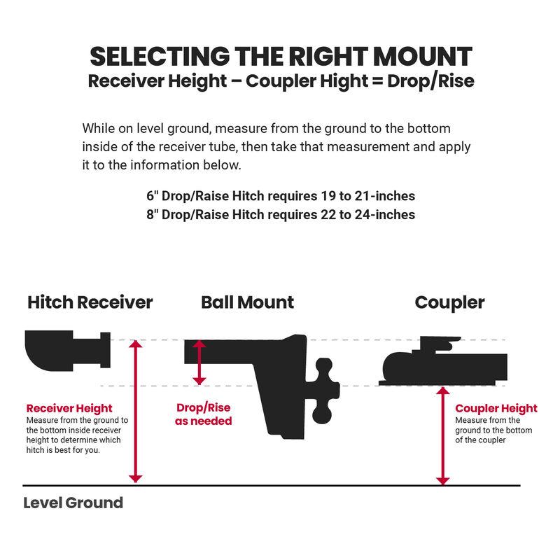 8-in Drop/Rise HD Dual Ball Mount 2-in Trailer Hitch