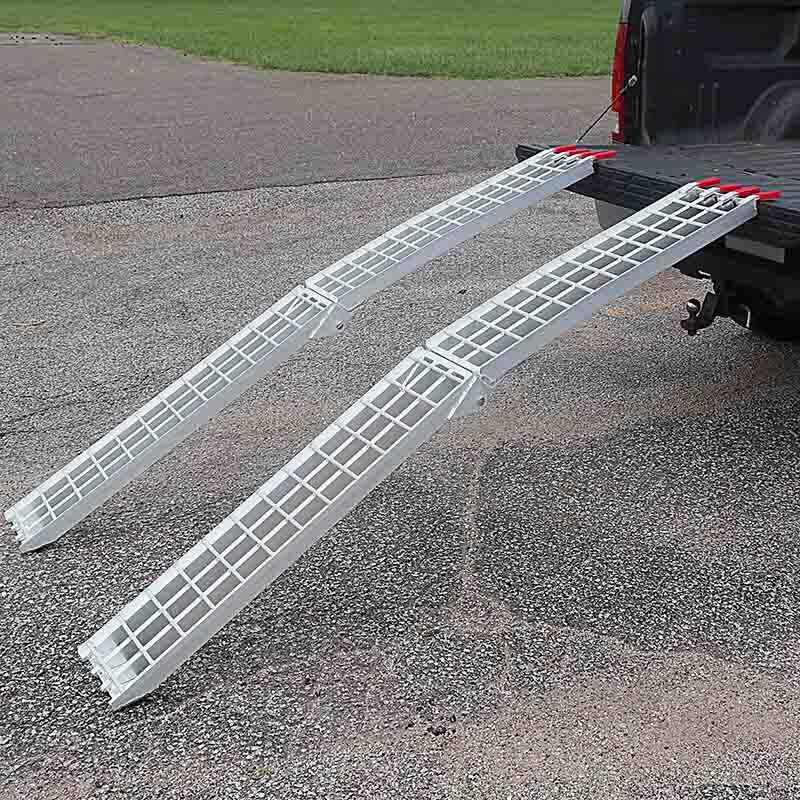 "Titan Pair Aluminum Lawnmower ATV Truck Loading Ramps 7.5/' Arched Folding 90/"""
