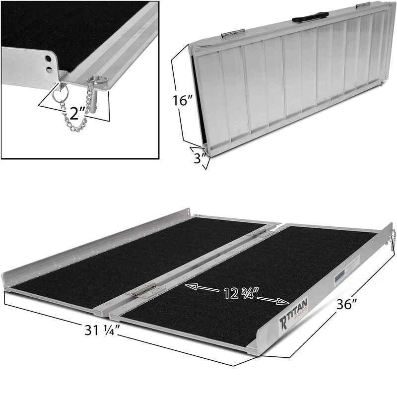 3' Aluminum Briefcase Folding Ramp