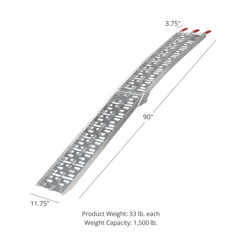 Titan 7.5 FT Aluminum Plate Top Ramp 2 PK 1,500 LB Capacity Lawn Mower ATV Truck Loading Ramps