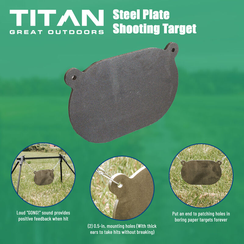 AR500 Steel Plate Shooting Target – 10-in x 16-in. – 3/8-in Thick
